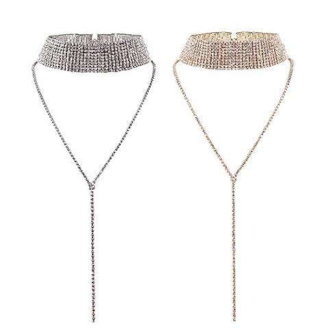 Tpocean femmes Mode Large Full Diamant cou Strass Collier ras du cou Long Y-shape Pendentif Bijoux (Or et Argent, Lot de 2)
