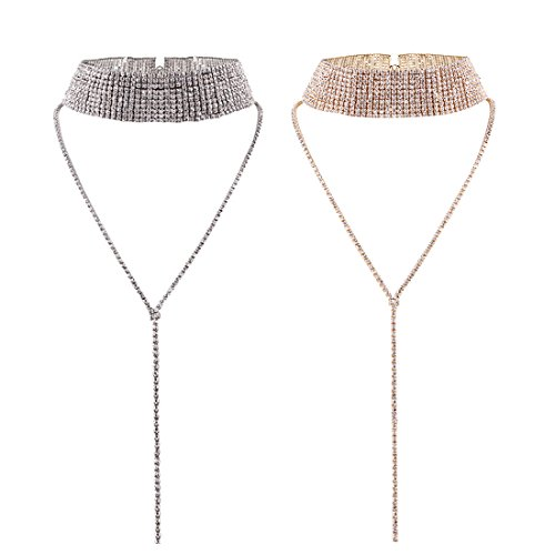 Tpocean 2pcs Mädchen Damen Mode Multi Row kristall Choker Halsketten Set Voll Strass Pullover Halsketten Y-Form Lange Ketten Anhänger Hochzeit Party Prom Halsband Schmuck(Rose Gold,Silber) -