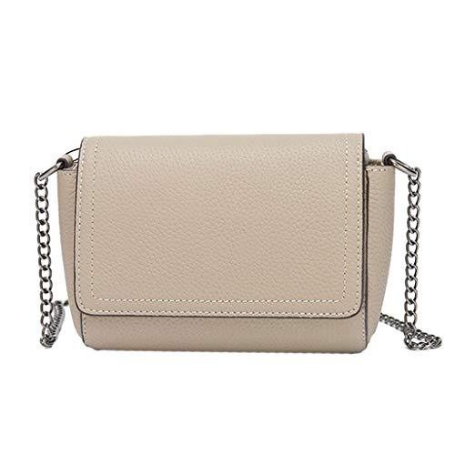 Crossbody-Tasche Für Damen Aus Leder (Farbe : Beige, größe : S)