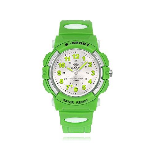 Kinderuhr Junge, Kinderuhr Armbanduhr Analog Wasserdicht Sports Uhren für Jungen und Mädchen Uhr Sports Uhren (Grün)