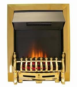 The Adam Ribbon Brass Electric Fire and Antique Blenheim Fret