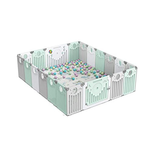 LIUFS-Playpens Fence Child Protection Foldable Home Game Activity Center With Crawling Mat (Size : 18+2 pieces)  LIUFS-Playpens
