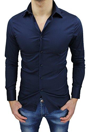 Camicia uomo sartoriale blu casual elegante slim fit top quality (s)