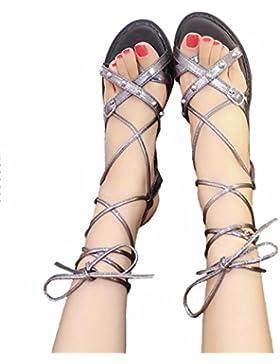DM&Y 2017 sandalias planas en forma de bota de la correa del anillo del pie Europa y América con suela gruesa...