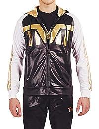 TMT Tuta Completa Felpa Acetata Sportiva con Cappuccio Gold da Passeggio  Pantalone Palestra con Zip Cerniera 47c839a052f