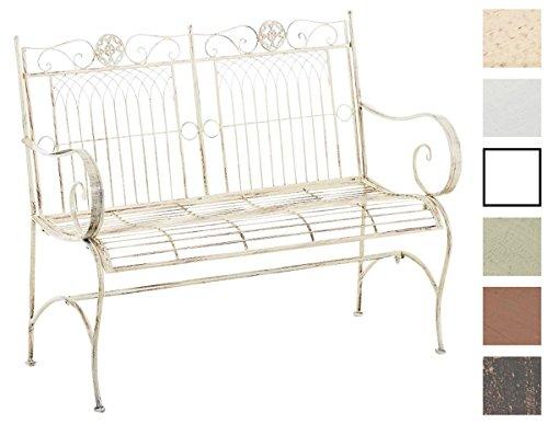 CLP Metall Gartenbank PURUSHA, 2-Sitzer, Landhaus-Stil, Eisen lackiert, Design nostalgisch Antik Creme