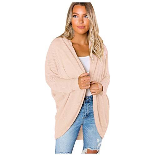 TOPGKD Jacke Übergroße Damen Langarm Strickmantel Vorne Offen Herbst Winter Pullover Jacken Coat Outwear (Beige, S) -