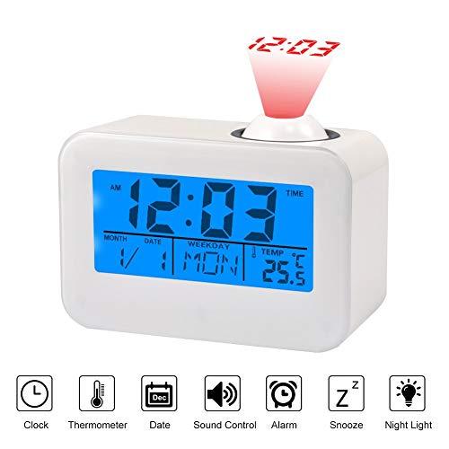 Projektion Uhren Projektionswecker LCD Display Wecker Mit Temperatur Datum Kalender Wecker Snooze Sprachsteuerung Decke Projektion Digitaluhr Digitale Bettseite Wecker