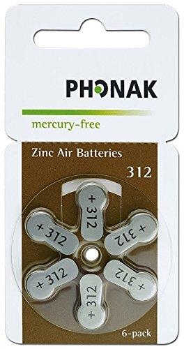 60 x Hörgerätebatterien Phonak Powerone mercury-free Typ 312 braun