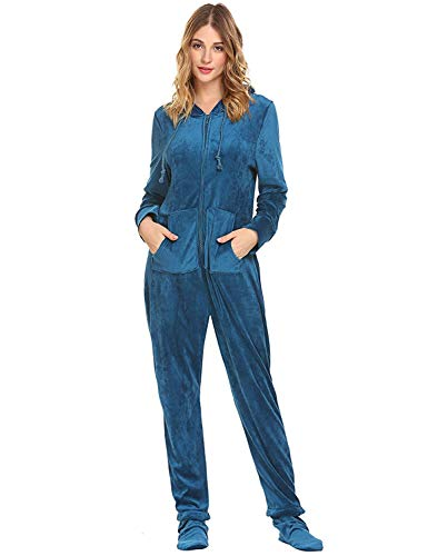 Sleepwear Home Frauen Union Suit Coral Fleece-Strampler mit Kapuze Footed Jumpsuit Pyjamas Rot Farbe-XL - - Footed Pyjamas