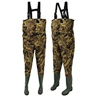 Michigan Camo Camouflage Waterproof Nylon Fishing Chest Waders with Belt Size 12