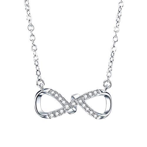 J.RIKKI Kette Damen Halsketten 925 Sterlingsilber 5A Funkeln Zirkonia Unendlichkeit Halsketten Anhänger Mode Infinity Ketten für Damen