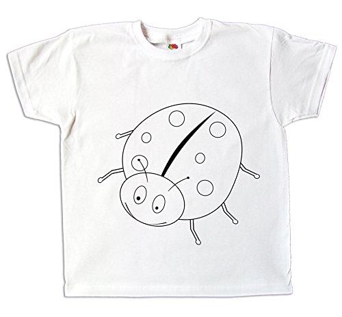 Pixkids Kinder T-Shirt Glückskäfer Marienkäfer Zum bemalen und ausmalen mit Vordruck Spiel Zum Kindergeburtstag Kindergarten (140)