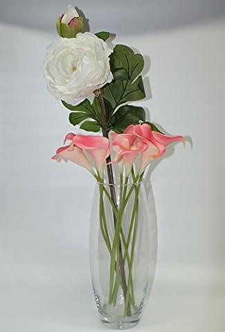 Grand vase en verre avec rose Lillies et ivoire Pivoine Stem–Composition florale Parfait pour la maison ou cadeau