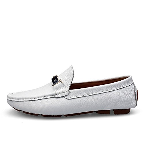 Rismart Hommes Élégant Fermoir Mentale Cuir Mocassins Chaussures 9927 Blanc