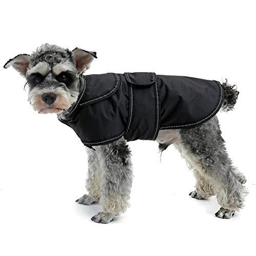 Eono Essentials Hunde Bekleidung Mantel Winter Jacke WasserDicht warme Bekleidungs Weste für Kleine MittelGroße Hunde Reflektierende Streifen Abnehmbare Futter 30cm/S