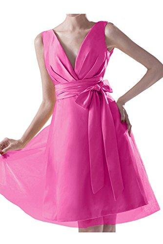 TOSKANA BRAUT Festlich Neu V-Neck Zwei-Traeger Schleife Cocktailkleider Kurz Partykleider Abiball Abendkleider Pink