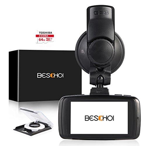 'Beschoi Fotocamera di auto Cam colori Registratori di guida LCD 2,7 full hd 1296p Dash Cam con videocamera digitale a subwoofer nero, GPS, TOSHIBA 64 GB Micro SD Scheda offerto, 30 mm Ultra Filtro CPL, registrazione in loop, G-Sensor, Rilevatore di movimento, eccellente illuminazione a bassa luminosità + Panno di Pulizia Brand Name: Beschoi