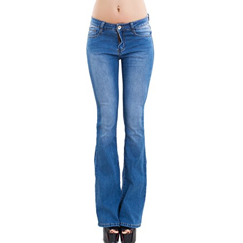 Toocool - jeans donna pantaloni skinny elasticizzati zampa elefante campana nuovi b6515 [xl,blu]