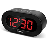 Reacher Large LED Digital Alarm Clock with Snooze, Full Range Brightness Dimmer, USB Charging Port for Smart Phones and Tablets, Mains Powered Compact Clock for Bedrooms Bedside(Black)