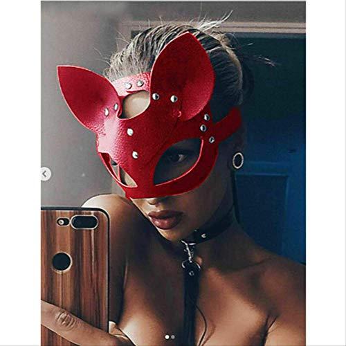 Kostüm Hacker Mädchen - GVBUI Latexmaske Katze Maske Frauen Mädchen Party Kostüm Masken Spezielle Katze Ohren Verstellbare Design Masken Schwarz Rot rot