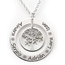 Colgante Árbol de la vida en plata con dos aros