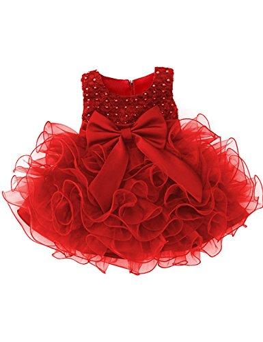 Pailletten Prinzessin 6 Multi Layer Tutu Tüll Kleid Größe(90) 13-24 Monate Rot ()