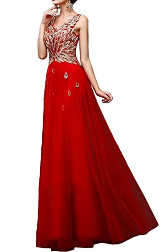 Gorgeous Bride Schoen V-Ausschnitt Mini Tuelle Cocktailkleider Abendkleid Festkleid Ballkleid Rot