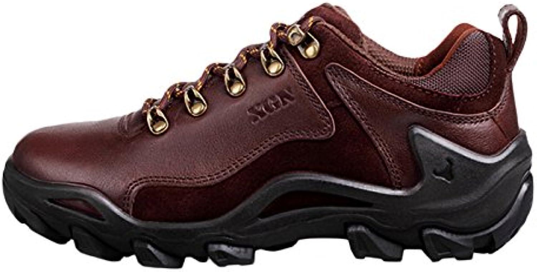 nihiug Wanderschuhe Männer Leichte Wanderschuhe Leder Trekking Outdoor Schuhe Atmungsaktiv Rutschfeste Verschleißfestigkeit