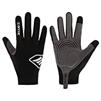 Santic Cycling Gloves Men Full Finger Touch Screen Women Winter Thermal Warm Windproof Gloves with Shock-Absorbing Foam Pad Cold Weather- for Cycling Bike Running Outdoor Sports Black M