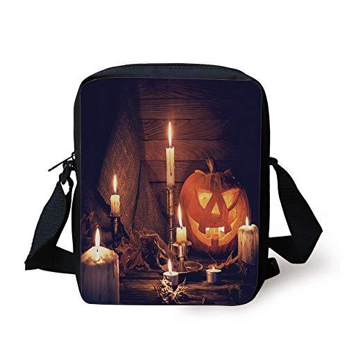 tic Home Wooden Planks Burning Candles Pumpkin Sackcloth Harvesting Holiday Decorative,Orange Brown Print Kids Crossbody Messenger Bag Purse ()