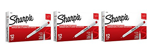 Sharpie Permanent cxfbh Marker, Ultra Fine Point, Rot, 12 Count (3 Pack) - 3-pack Fine Point, Sharpie