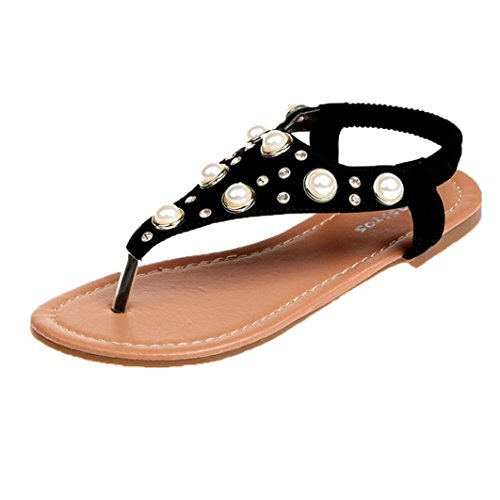 Uomogo® infradito donna eleganti con strass mare sandali donna bassi elegant estivi scarpe donna estive eleganti sandali gioiello donna bassi - donna estate sandali (cn:36, nero)