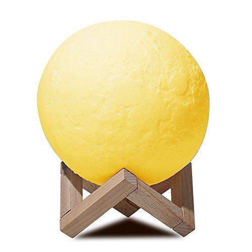 Newkbo led lampada luna luce notturna, lampada da tavolo, ricarica usb decorativo notturna controllo tattile luminosità due toni, con supporto in legno(7.9 in)