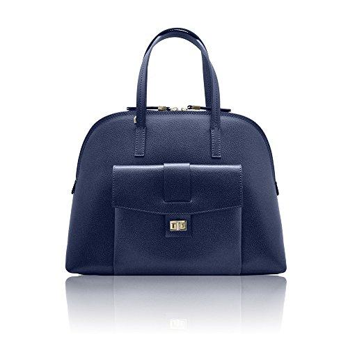 GEMMA Sac épaule, Sac forme bowling Satchel avec poche extérieure en cuir de grainé rigide, fabriqué en Italie bleu