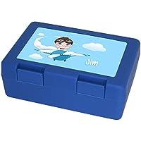 Preisvergleich für Brotdose mit Namen Jim und schönem Piloten-Motiv für Jungen | Brotbox blau - Vesperdose - Vesperbox - Brotzeitdose mit Vornamen