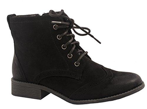 Elara Cowboy Boots | Damen Western Stiefelette | Blockabsatz Schnürer Farbe Schwarz, Größe 37 (Western-boot Ferse)