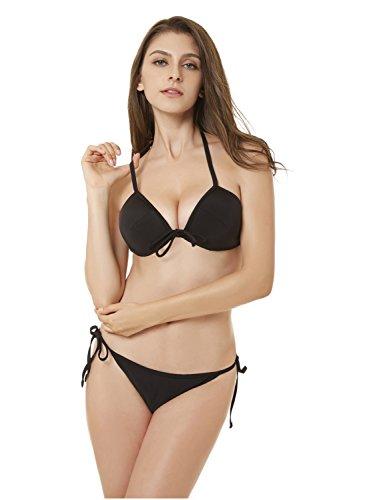 XSY Push up Bikini Damen Set Gepolsterter Badeanzug Bademode Badeanzüge Triangel Bandeau Swimsuit Schwarz Medium