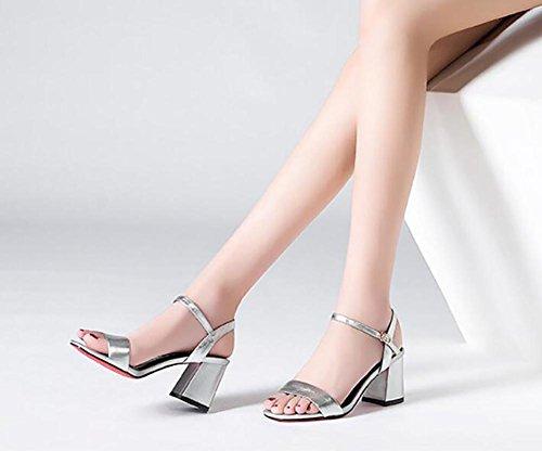 2017 nuovi sandali femminili estivi ruvida con punta aperta in pelle punta punta in pelle sandali con tacco alto scarpe in pelle semplice 3