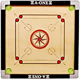 A-One Medium Size Gol Pocket Carrom Board With 24 COINS, STRICKER & 2 CARROM POWDEE(Free Of Cost)