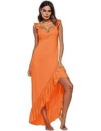 00706855f Cikuso Nuevo Vestido de Playa Vestido Sin Espalda Con Volantes Sexy Moda  Seda de La Leche Rebeca de Borde Irregular Vestido Maxi para…