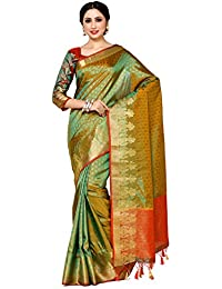 Mimosa By Kupinda Women's Art Silk Saree Kanjivaram Style Color : Multi (4037-246-Gr-2D-Gld-Mrn)