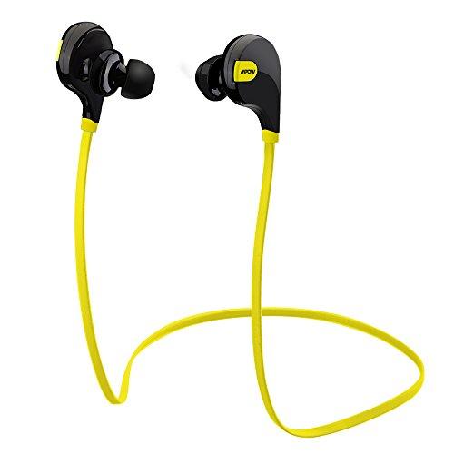 Mpow Swift Auriculares Estéreo Bluetooth 4.0 para Correr Cascos Ddeportivos y Resistente al Agua y Sudor. Auriculares con Tecnología aptX Avanzada para iPhone, iPad, PC y otros Teléfonos Inteligentes - Color Amarillo
