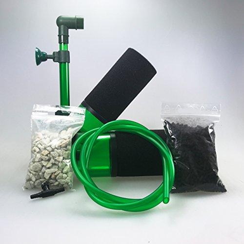 Guemmer products Schwammfilter Aquarium für biologische und mechanische Filterung (200P), Aquarien Filter für Becken bis 80 Liter mit Bioaktivkammern für Filtermedien