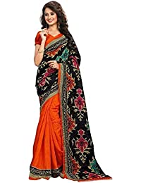 Sarees New Collection Latest Sarees Women's Art Silk Saree (Orange And Black) (Saree Centre Sarees For Women Party...