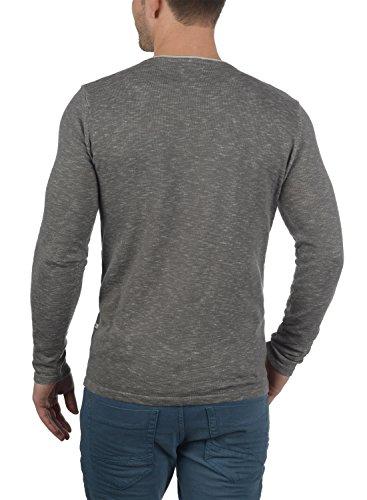 REDEFINED REBEL Maverick Herren Strickpullover Feinstrick Pulli mit Rundhals-Ausschnitt und Brusttasche aus 100% Baumwolle Meliert Mid Grey