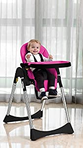 Vélu Baby Child Highchair Feeding Chair Soft Comfortable Leather Fully Adjustable Parts Pink by Velu