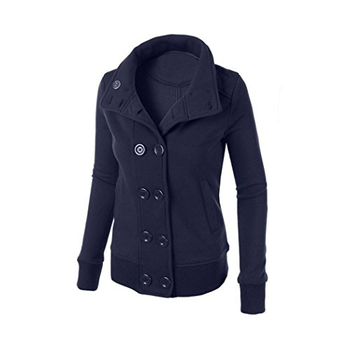 Ouneed® Winter Women Warm Double-breasted Hooded Long Slim Jacket Coat Outwear Bleu