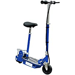 Homcom Patinete Eléctrico Scooter Plegable con Manillar y Asiento Ajustable Tipo Monopatín con Freno y Caballete 120W Carga 50kg 81.5x37x96cm Color Negro (Azul)