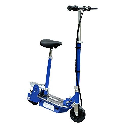 HOMCOM Patinete Eléctrico Scooter Plegable con Manillar y Asiento Ajustable tipo Monopatín con Freno y Caballete 120W Carga 70kg, 81.5x37x96cm, Color Azul